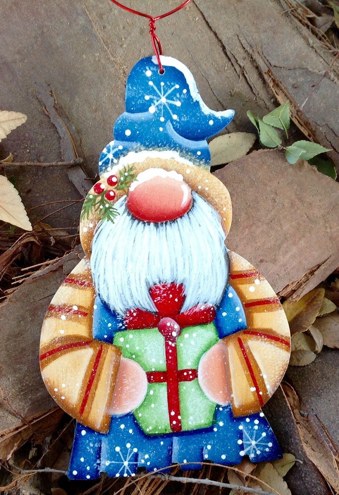 Christmas Gnome Ornament Painted Christmas Ornaments Christmas Gnome Christmas Paintings
