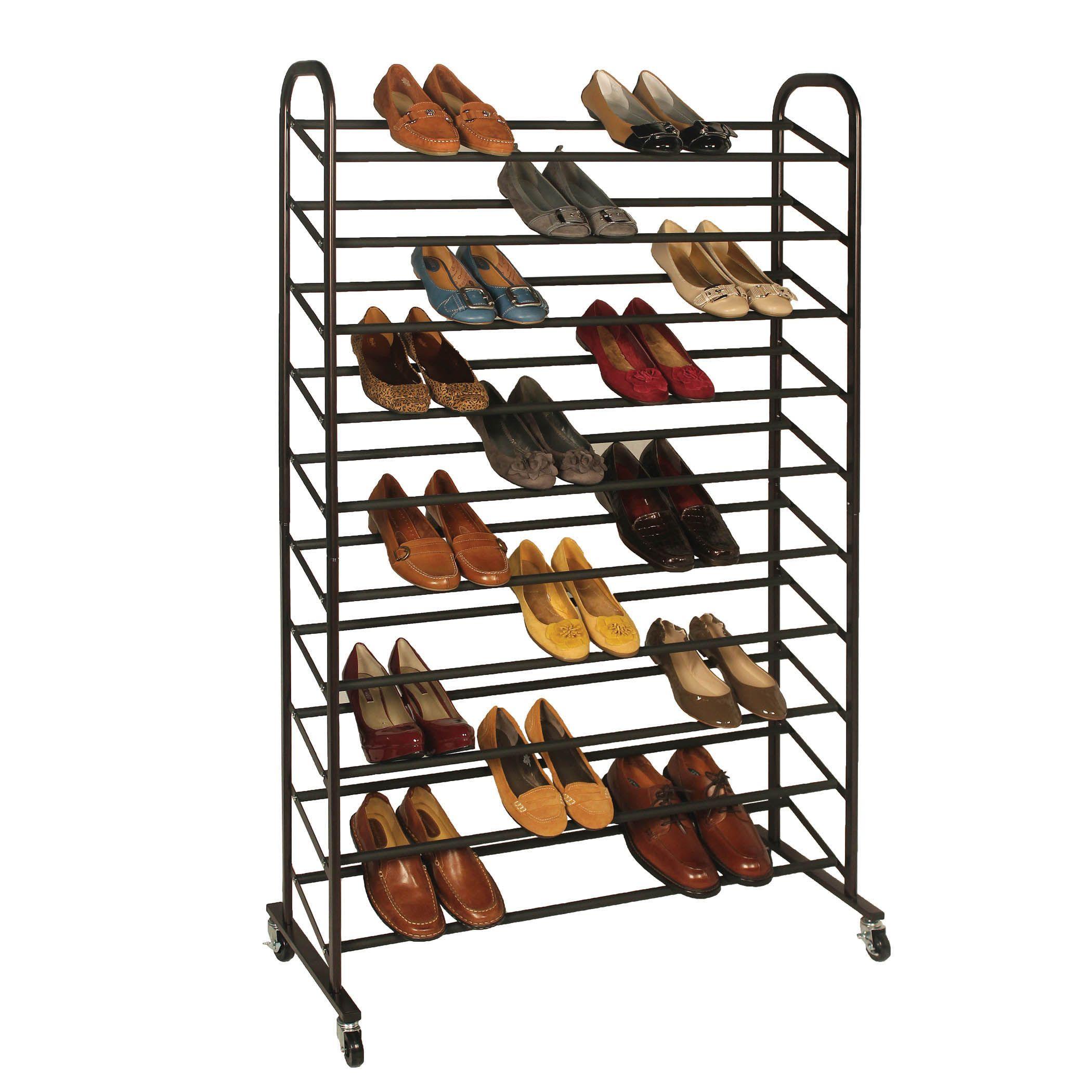 Richards Homewares Rolling 50 Pair Shoe Rack This Durable 10 Tiered Rack