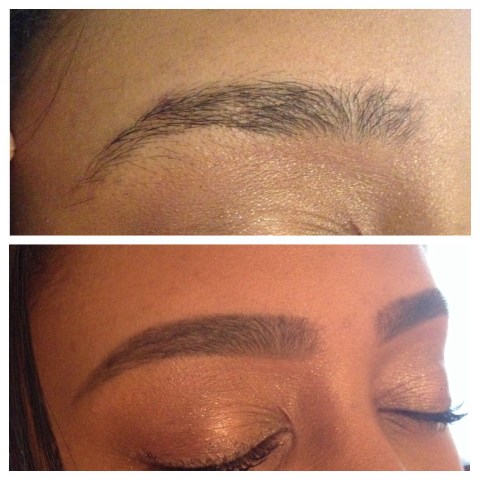 before and after. starting a reshape from a bad brow wax ...