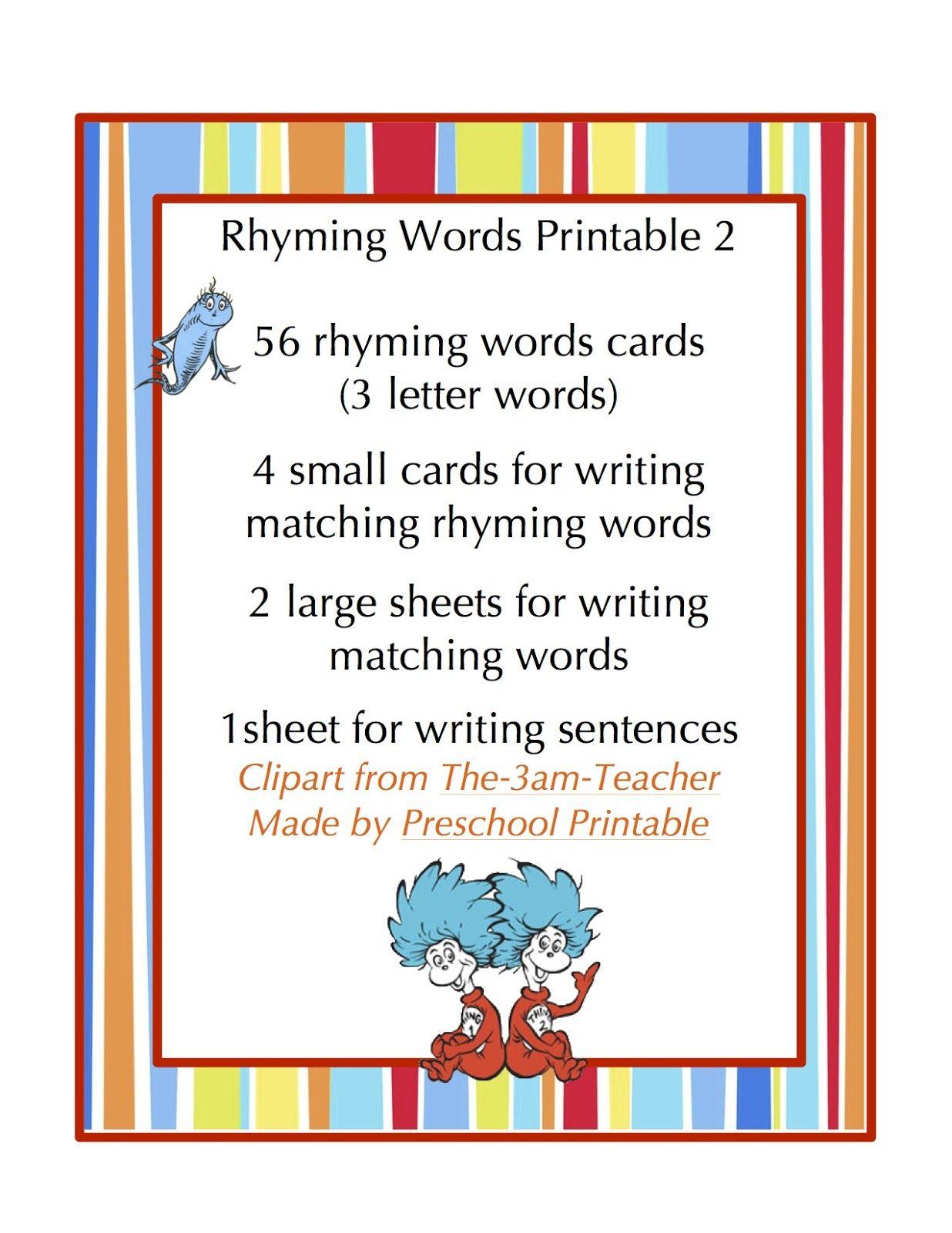 Rhyming Words Printable 2 1 236 1 600 Pixels With