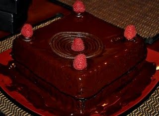 Delicious looking vegan raspberry blackout cake.
