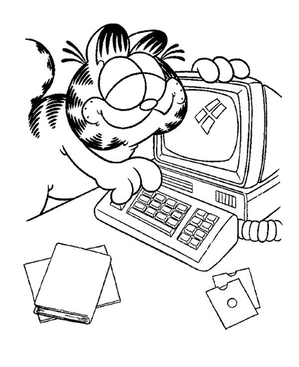 Garfield Playing Computer Coloring Page Coloring Pages Garfield Line Drawing