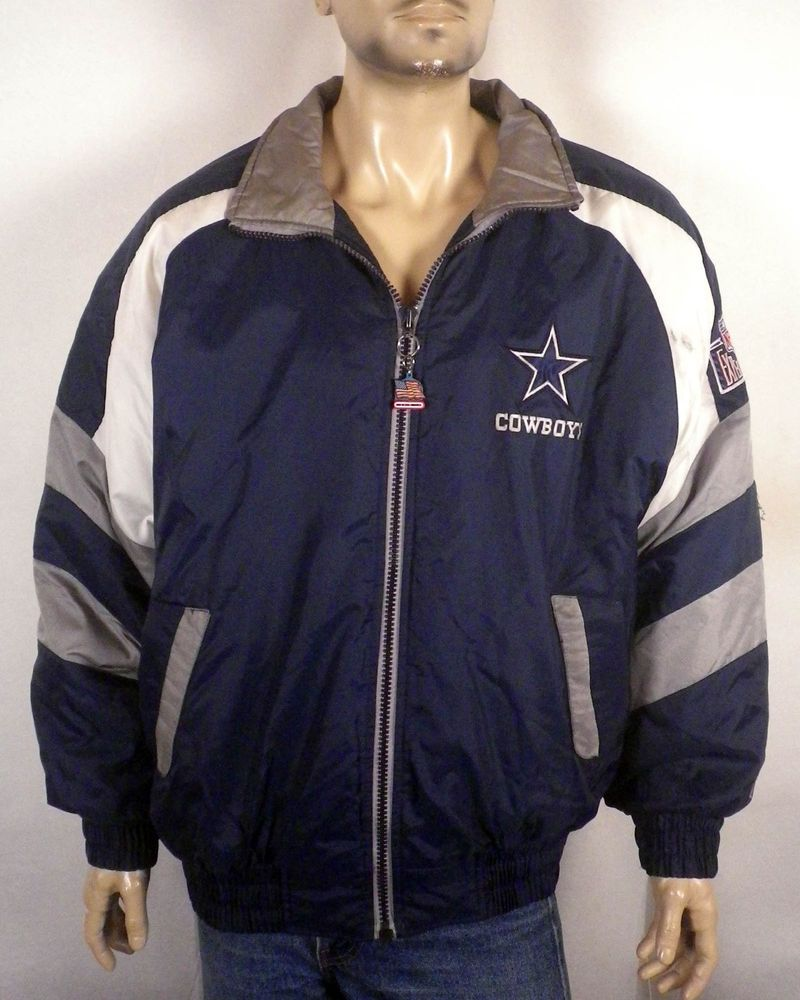 vtg 90s Pro Player NFL Experience Dallas Cowboys Jacket Puffy puffer zip up L