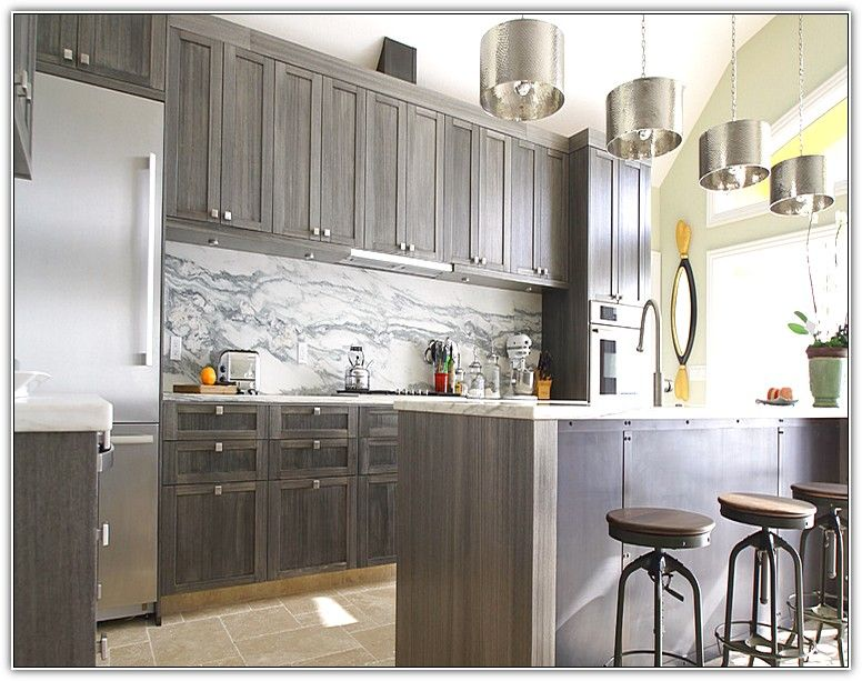 Grey Stained Kitchen Cabinets Love This Kitchen