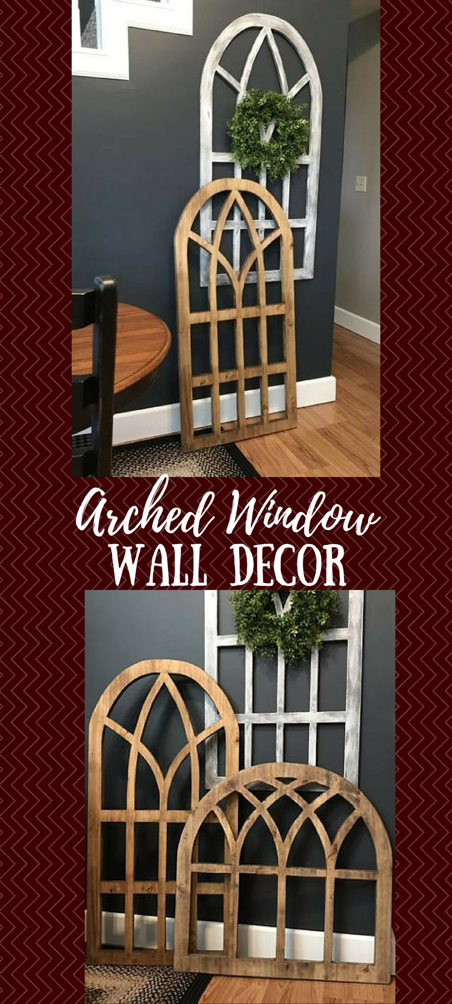 Window dressing ideas for arched windows  i love the look of wooden arched window decor this would be great