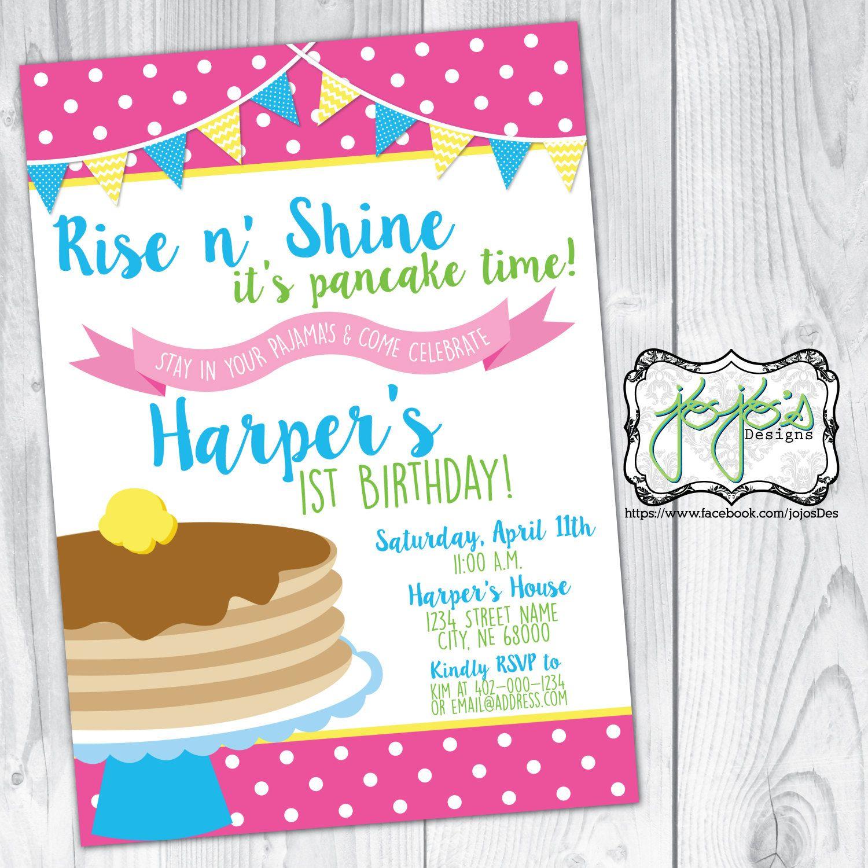 Pancake Party Invitations pancake and pajamas birthday invitation ...