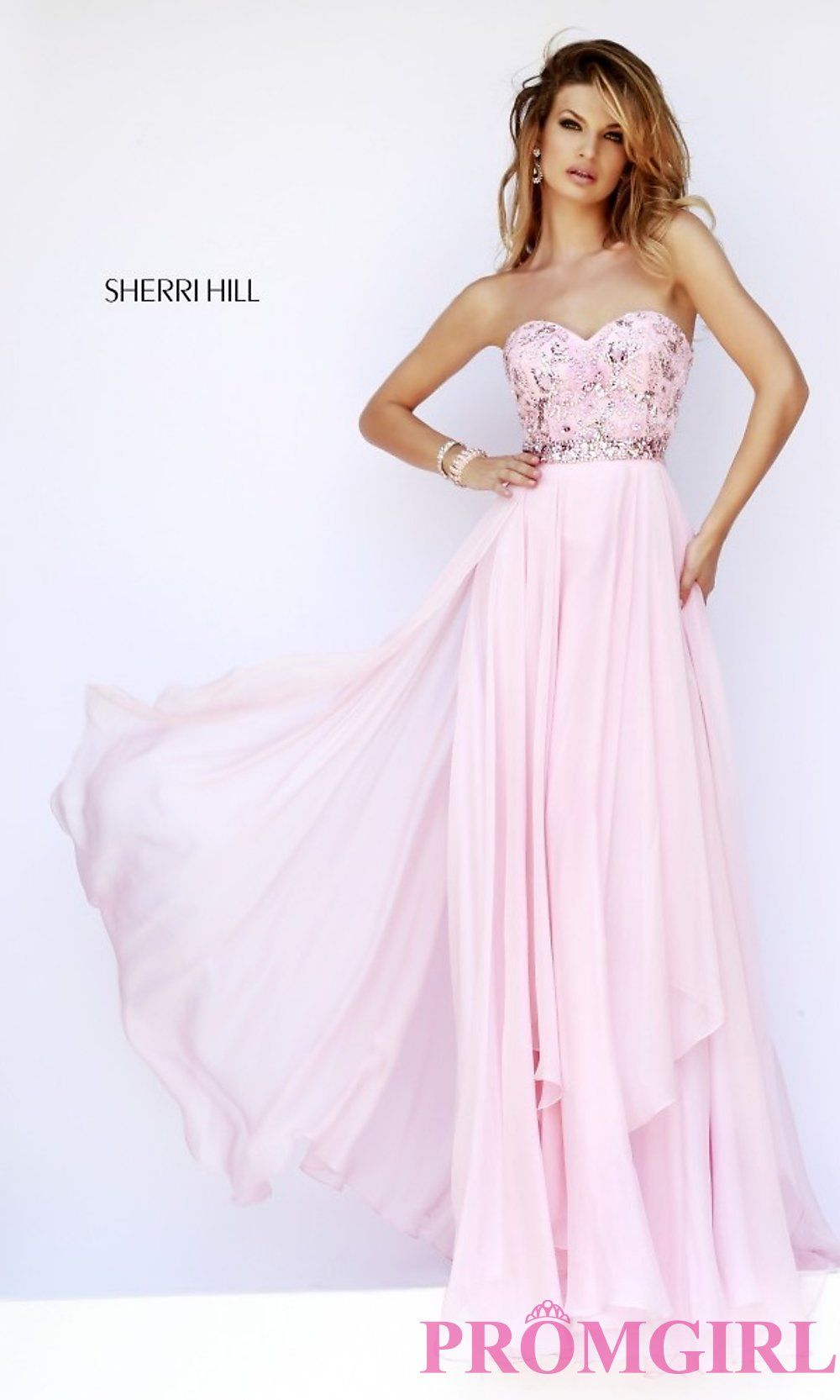 Image of long strapless beaded top sweetheart dress Front Image ...