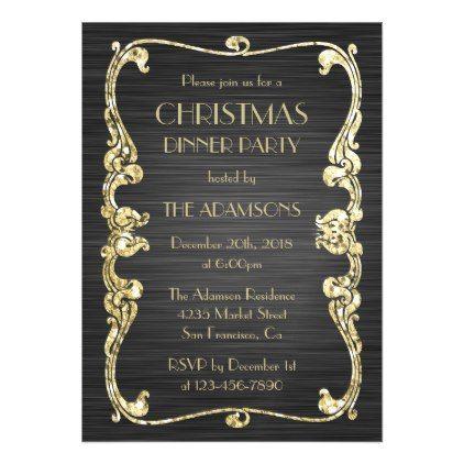 Art Deco Greek Arabesque Christmas Dinner Party Magnetic Card