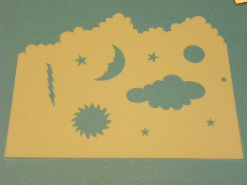 CLOUDS MOON SUN TEMPLATE, Sponge ink around each figure and make wonderful clouds and lighting, Sun & stars & moon.  Made by: Art Impressions rubber stamps. You can purchase all items in my ebay store: Pat's Rubber Stamps & Scrapbooks, Click on the picture & see the listing , or call me 423-357-4334 with order, We take PayPal. You get FREE SHIPPING ON PHONE ORDERS of $30.00 or more. If it says sold I have more. Use my search engine to find the items you are interested in