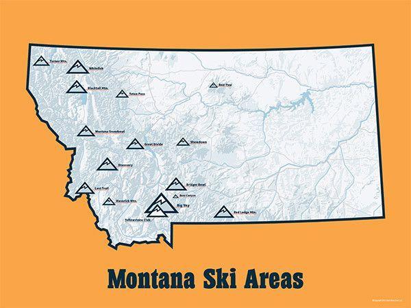 Montana Ski Resorts Map 11x14 Print Ski Areas