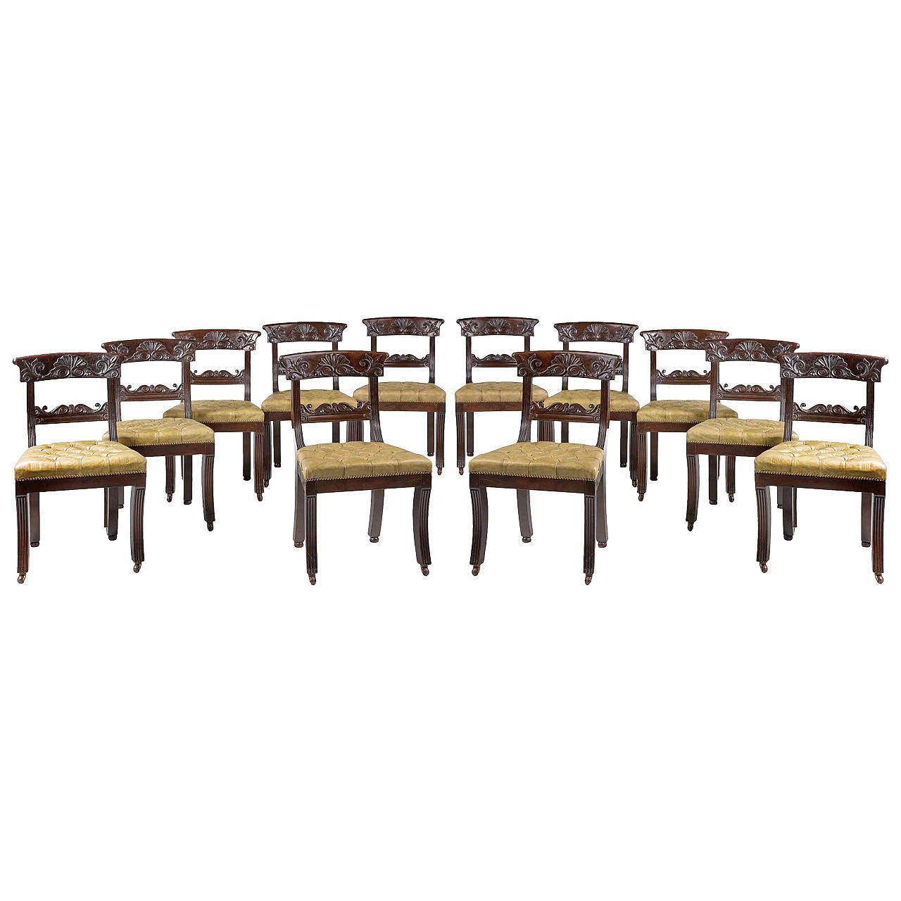 Set of 12 Regency Period Mahogany Dining or Library Chairs | From a unique…