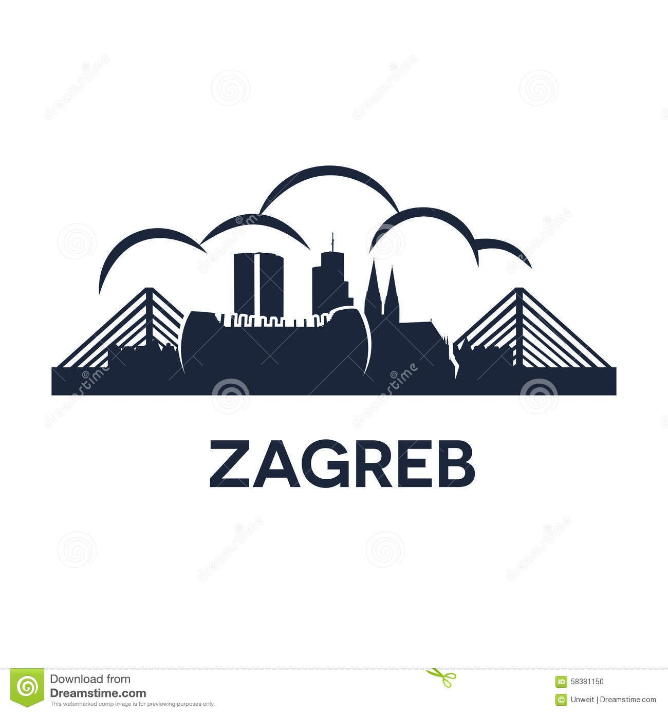 Illustration About Abstract Skyline Of City Zagreb Vector Illustration Illustration Of Europe Vector Architecture Disney Silhouettes Zagreb Illustration
