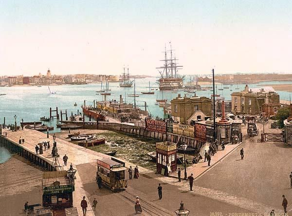 This color photochrome print of Harbor, Portsmouth, England was taken between 1890 and 1900.