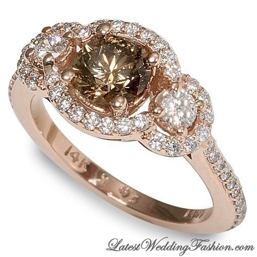 chocolate diamond engagement ring on rose gold - Chocolate Diamond Wedding Rings