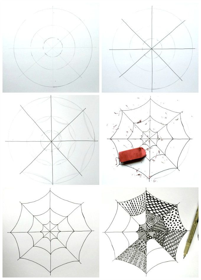 Tangled Webs :: Easy Zentangle for Kids and Adults | Drawing Ideas