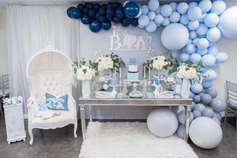 Blue And Silver Elephant Baby Shower Treat Table Babyshowerideas4u Birthdayparty Babyshowe Baby Shower Backdrop Baby Shower Decorations Baby Shower Balloons