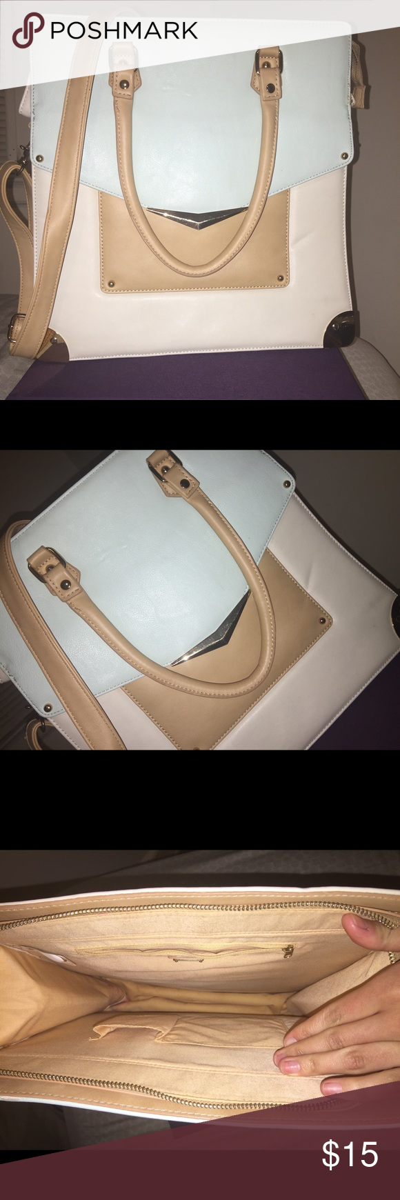 Aldo Bag Unique Tall Shoulder/ Crossbody Purse. This uniquely shaped bag by Aldo is a headturner! Great for carrying a small laptop/ ipad or paperwork. Light weight. Light usage, few creases in the front. A very light aqua color with tan body. Adjustable shoulder strap. Aldo Bags Shoulder Bags