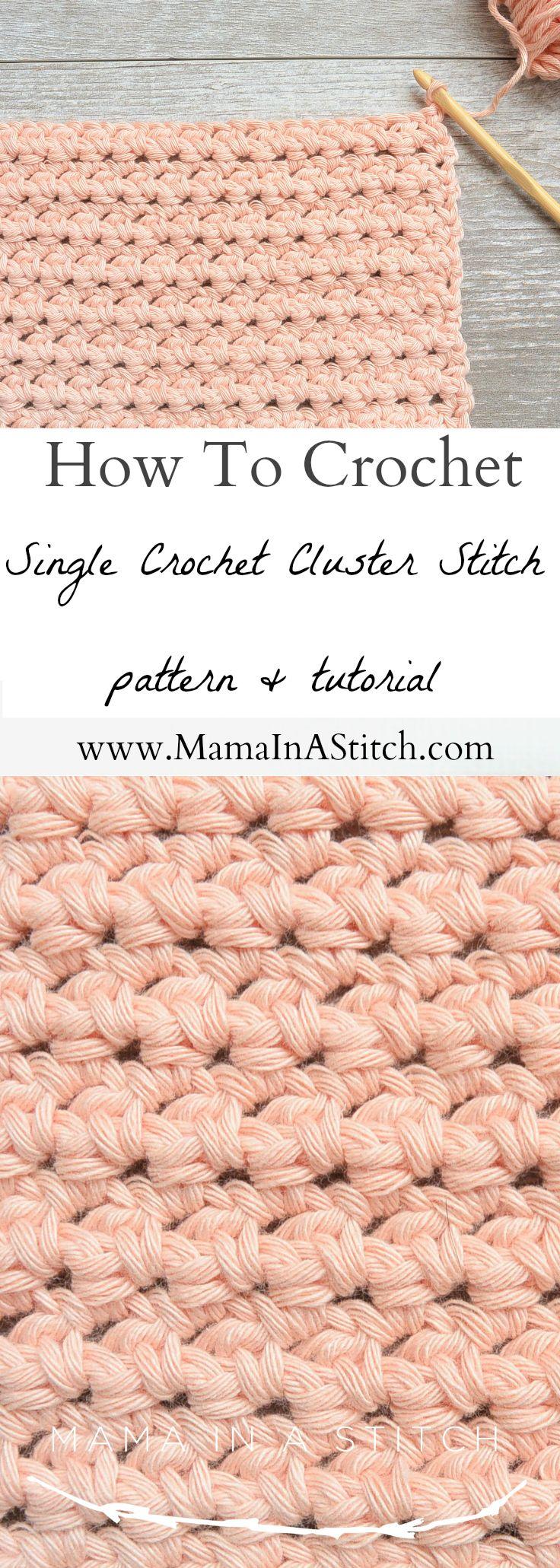 How To Crochet the Single Crochet Cluster Stitch | Häkeln ...