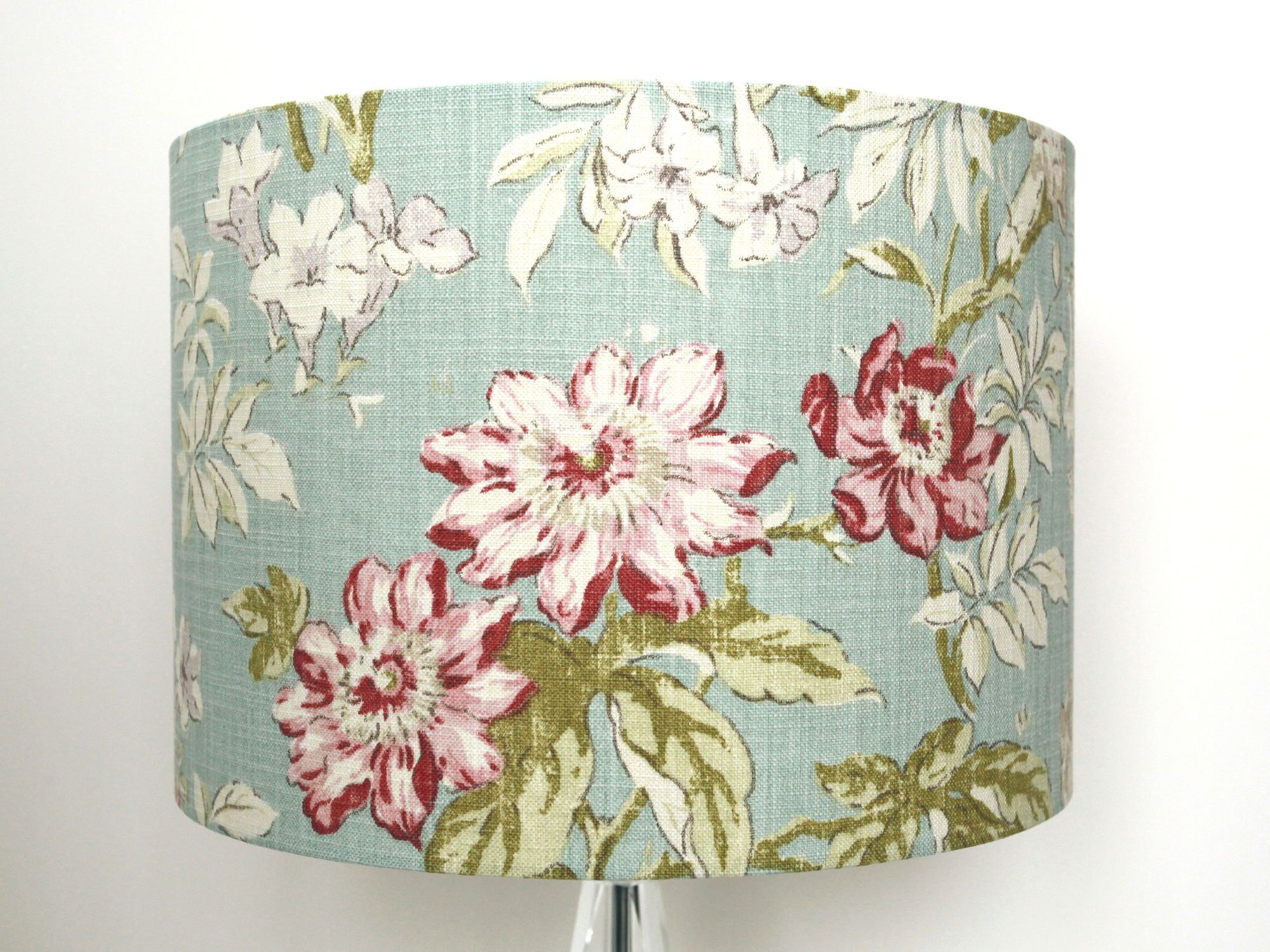 Shabby Chic Lampshade Duck Egg Blue Floral Lamp Shade In Vintage French Style Pale Turquoise Hanging Pendant