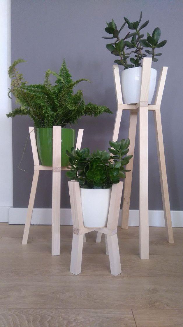 Kwietnik Drewniany Trio Stojak Na Kwiaty Komplet 3 Szt W Stylu Skandynawskim Idealna Dekoracja Do Domu Lub Na Balk Wooden Planters Plant Hanger Planter Pots
