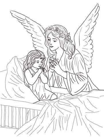 Click To See Printable Version Of Guardian Angel Prayers Coloring