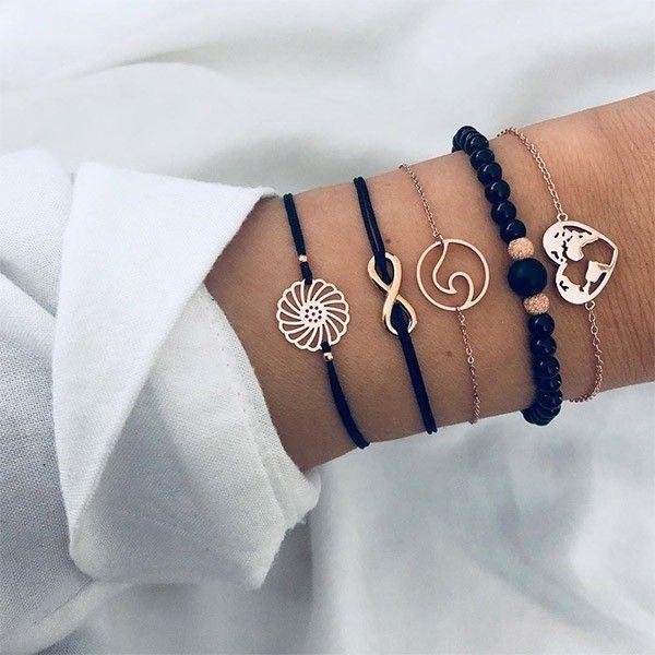 Style Simplecolor As Picturematerial Alloyweight 18gthis Bracelet Set Consists Of 5 Pieces Different Bra Boho Charm Bracelet Beaded Bracelets Fashion Bracelets