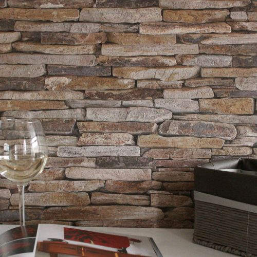 Stone Slate Reclaimed Wall Brick Effect Wallpaper Grey Yellow Beige Tones Brick Effect Wallpaper 3d Stone Wallpaper Stone Wallpaper
