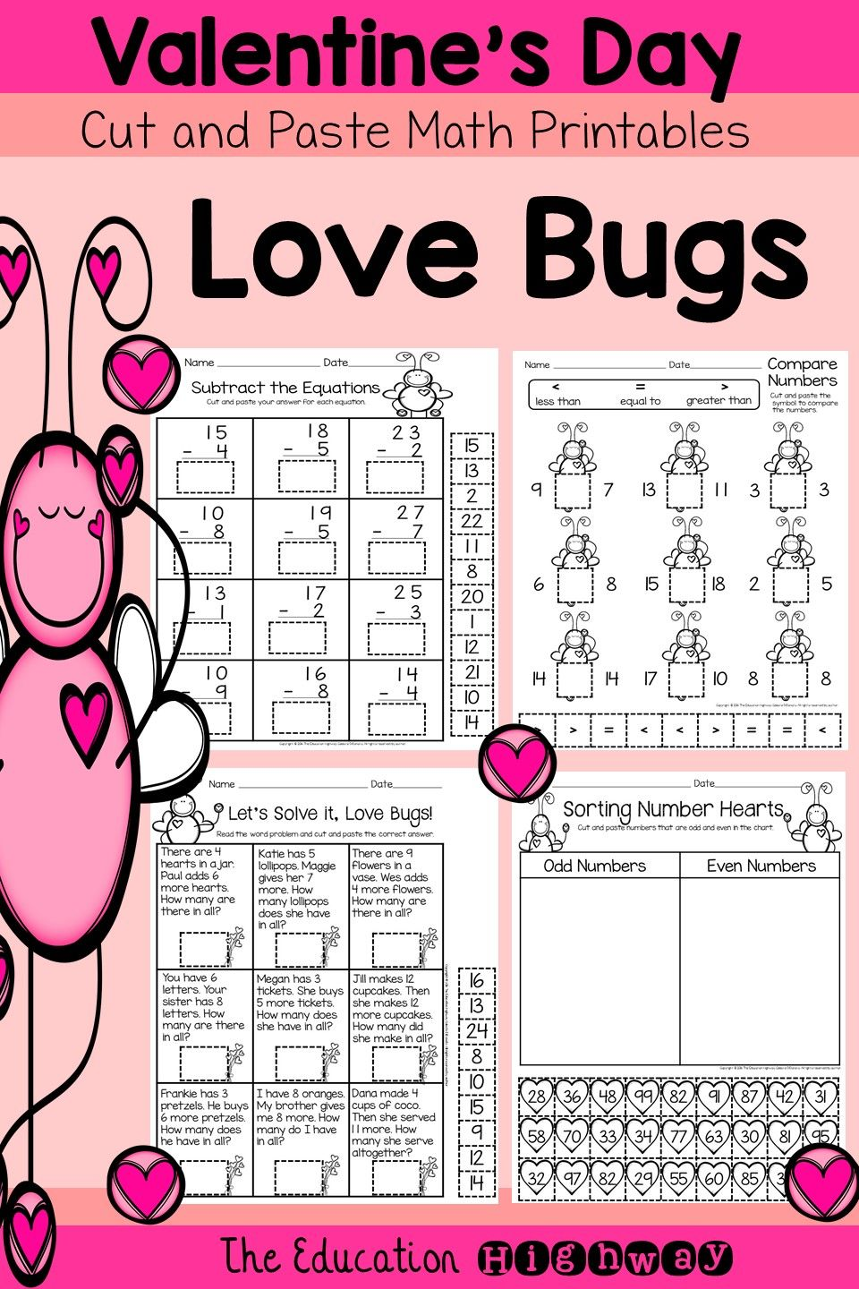 Valentine\'s Day Math Cut and Paste Printables | Math, Worksheets and ...