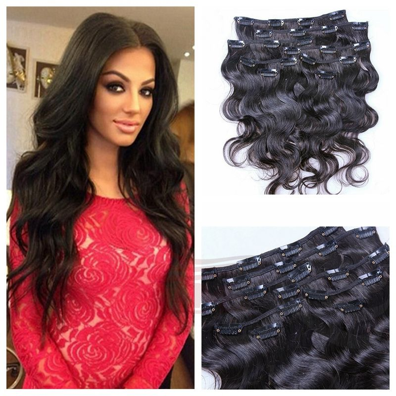 2016 Big Promotion Unprocessed Peruvian Clip In Virgin Human Hair