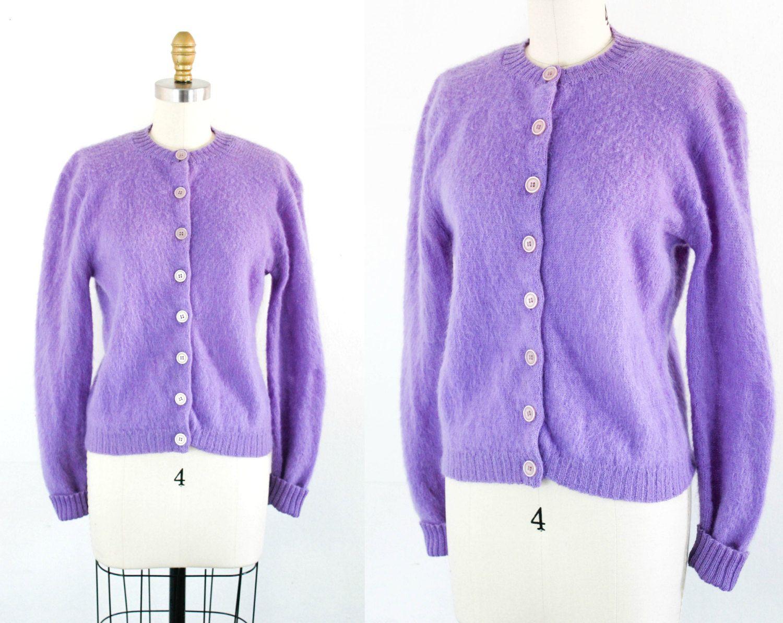 Vintage 1960s mohair sweater . Shy Violet . purple cardigan ...