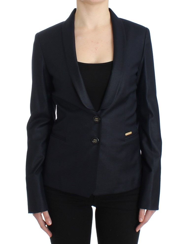 GF Ferre Black Suit Lapel Collar Blazer Jacket
