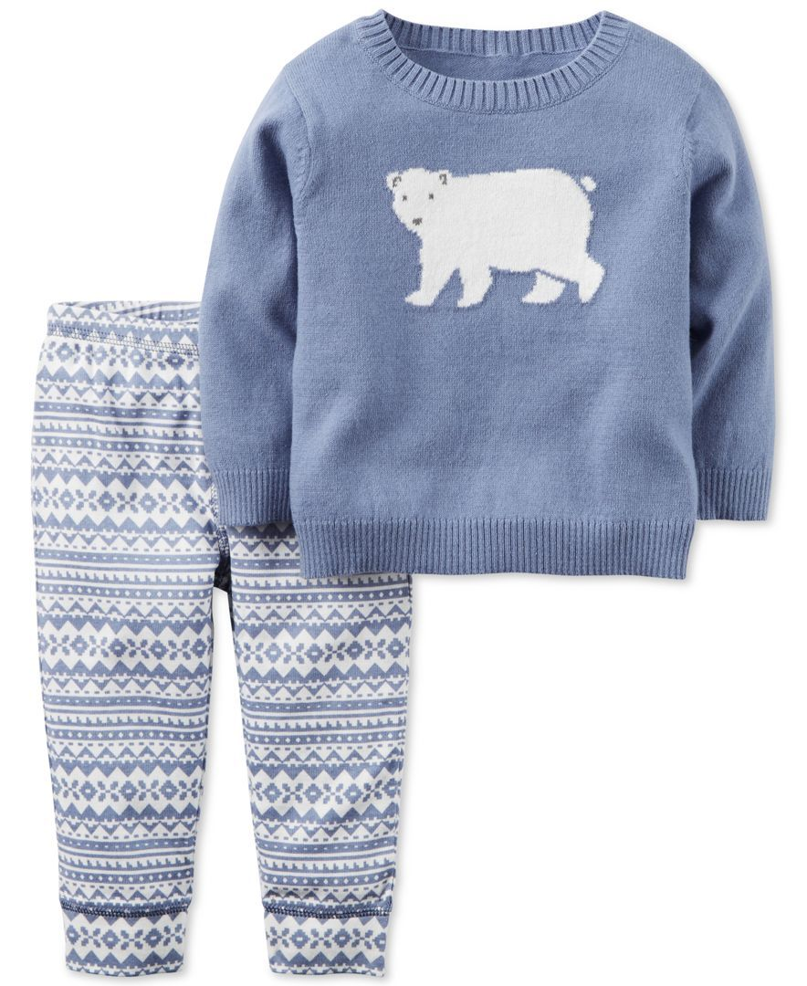 Carter's 2-Pc. Polar Bear Sweater & Fair Isle Pants Set, Baby Boys ...