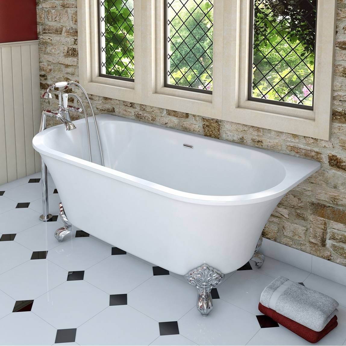 Camberley traditional back to wall freestanding bath with ball feet ...