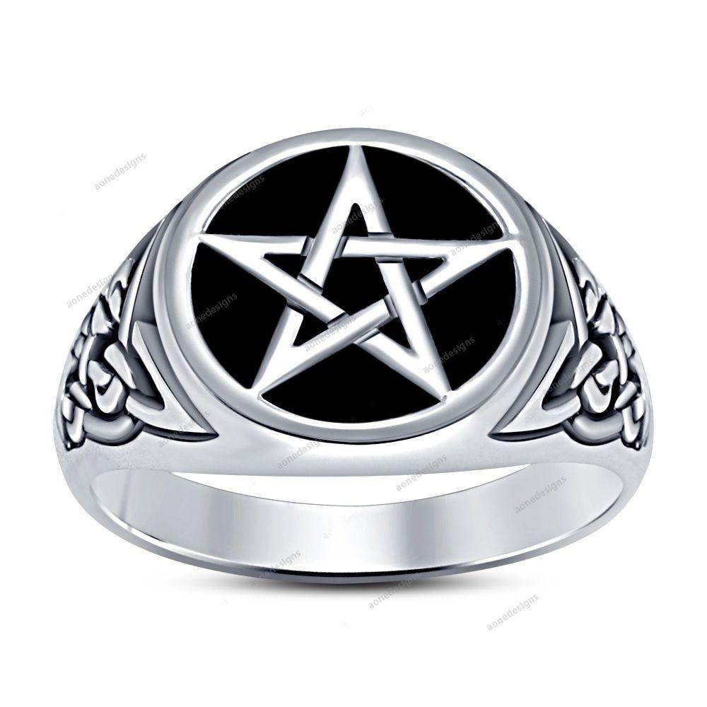14k White Gold Finish 925 Silver Black Enamel Men's Wedding Five Star Ring  #aonedesigns #MensFiveStarRing