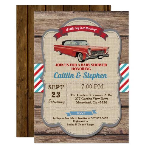 Classic car baby shower invitation. Vintage red Invitation | Zazzle.com