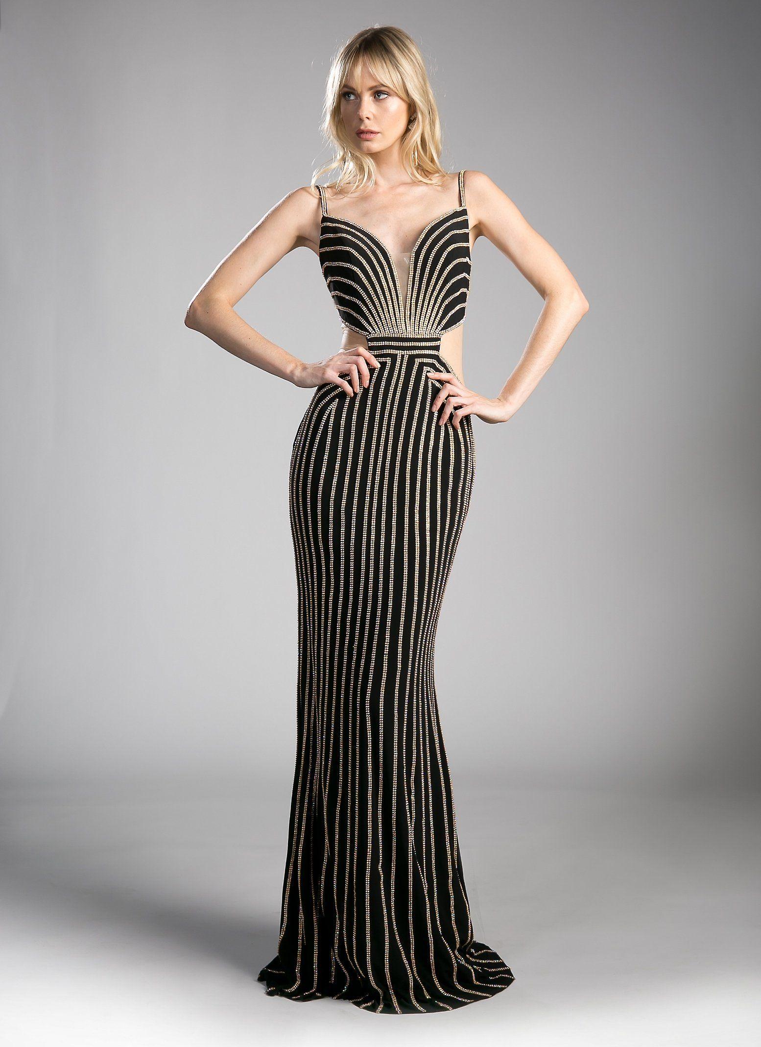 Gold beaded long black formal dress by cinderella divine