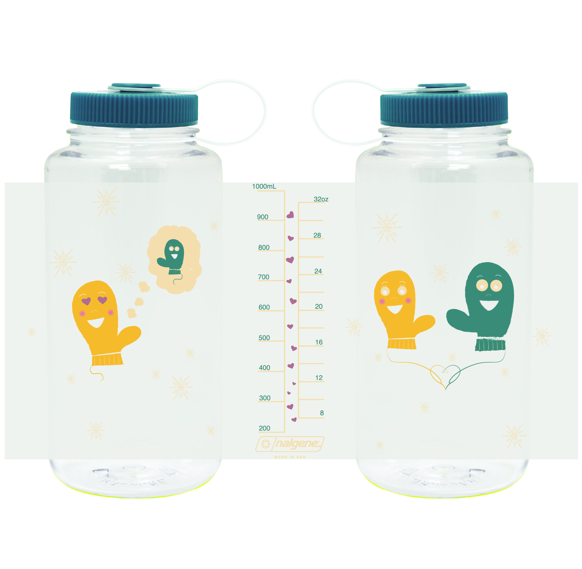"""Available on www.nalgene.com on Nov. 1, 2015 for $10.99. Exclusive 2015 Holiday Bottle, """"Smitten Mittens."""""""