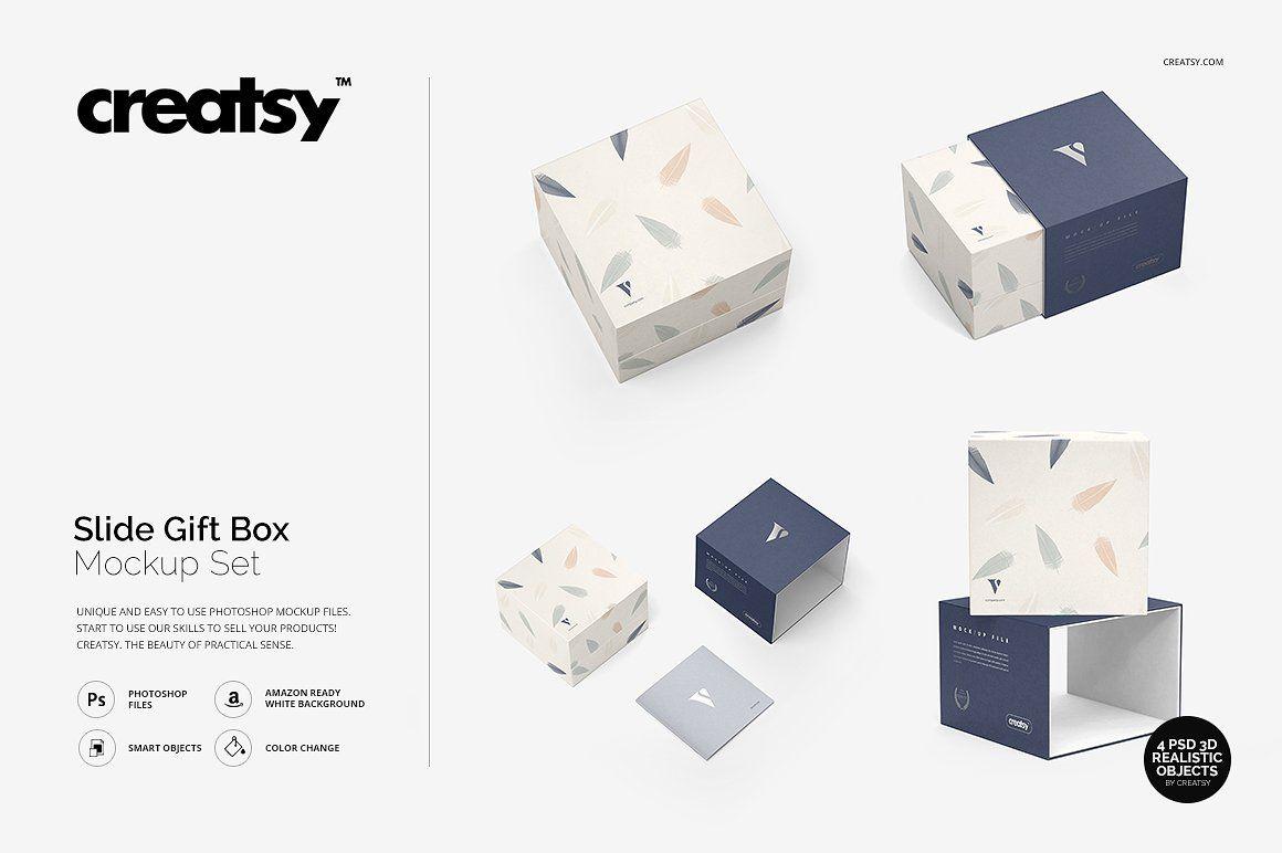 Download Slide Gift Box Mockup Set Box Mockup Creative Box Mockup