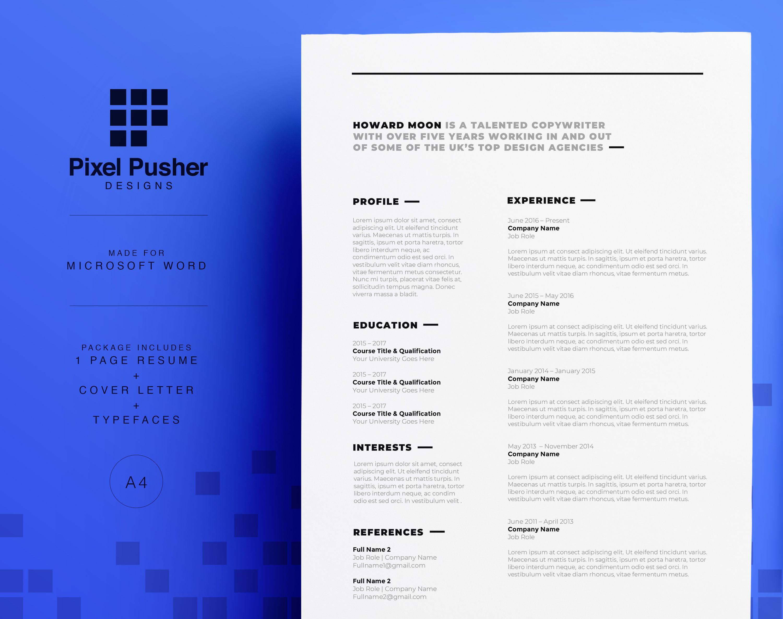 Copywriter Cv Resume Design Howard Moon Professional Resume