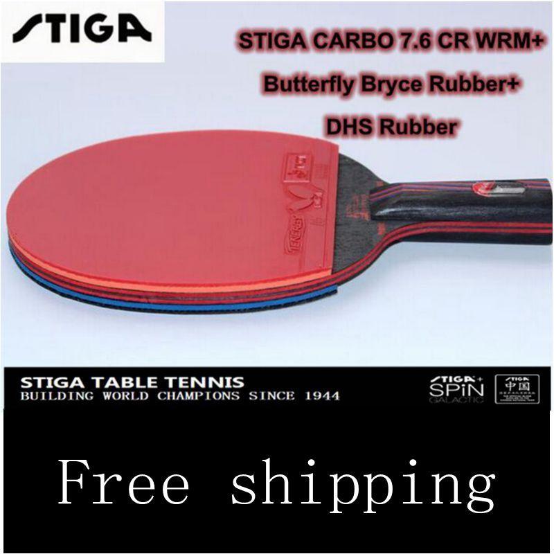 De carbono STIGA 7.6 senior de 13 capas 7.6 CR WRB Carbo esponja Azul Mesa de ping pong raquetas dos espinillas espinillas en cauchos