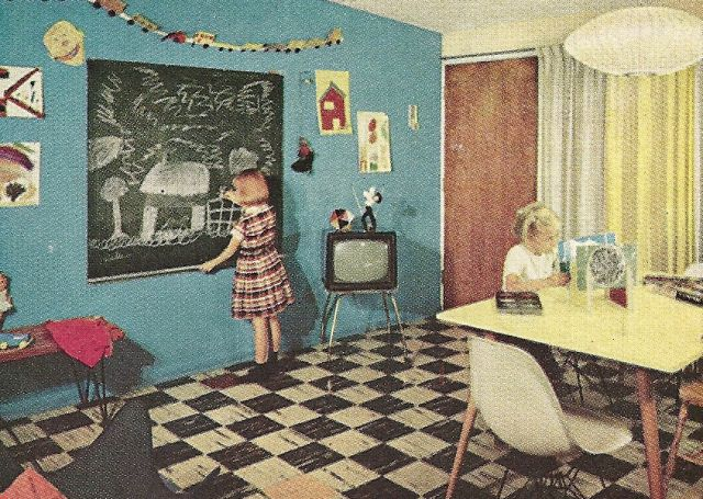 1960s Family Room, vintage home decorating, vintage furniture