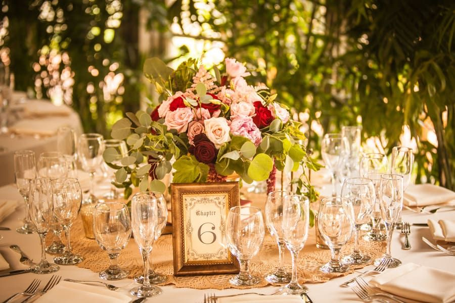 Vintage Garden Wedding reception at Sherman Library and Gardens