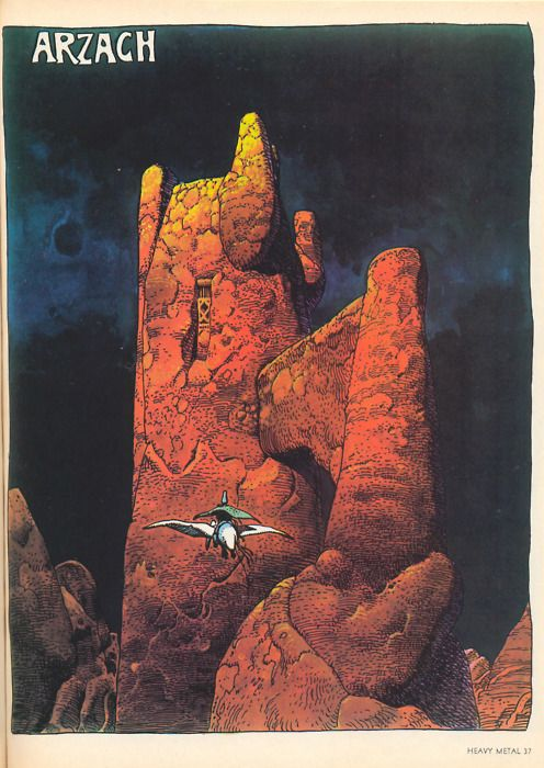 Arzach;  Maybe Moebius' most famous work, it comprises four short stories that are entirely silent. He has described them as being a sort of stream of consciousness experiment, exploring both the subconscious and his own newly declared identity as Moebius.