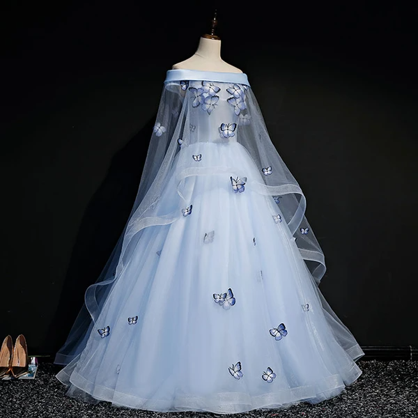 Beautiful Light Blue Ball Gown Lace-up Party Dress