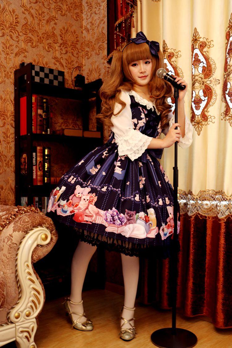 Pre-order: Rose Cat Lolita ~Morning My Sweet Kittens~ Lolita JSK >>> http://www.my-lolita-dress.com/rose-cat-lolita-morning-my-sweet-kittens-lolita-jumper-dress-rcl-1