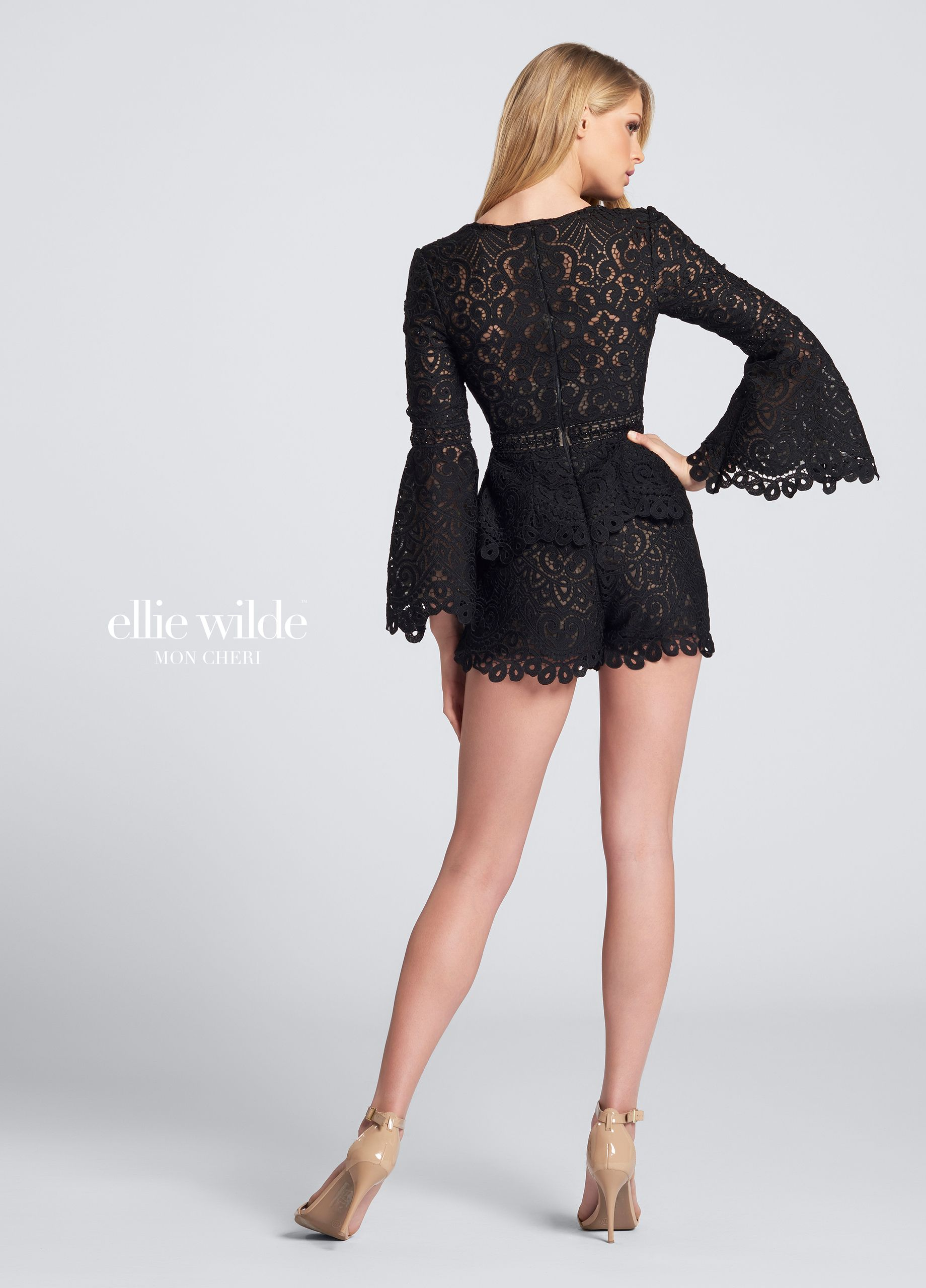 082cf9322b0b Ellie Wilde EW21728S - Long sleeve lace romper party dress. One-piece short  romper with scalloped long bell sleeves