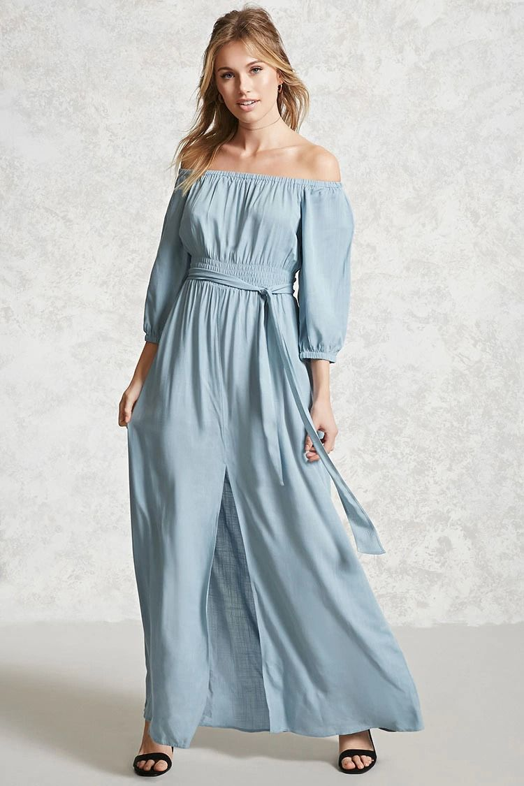 Forever 21 Contemporary - A woven maxi dress featuring an off-the ...
