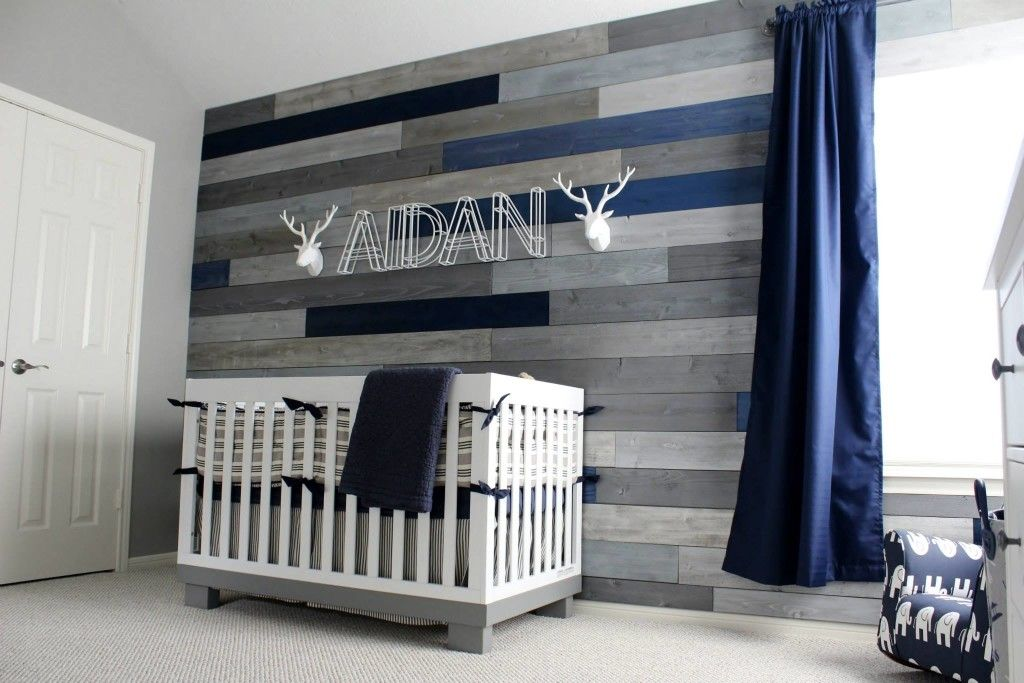 Baby Boys Room Ideas modern navy and grey rustic nursery | project nursery, wood walls
