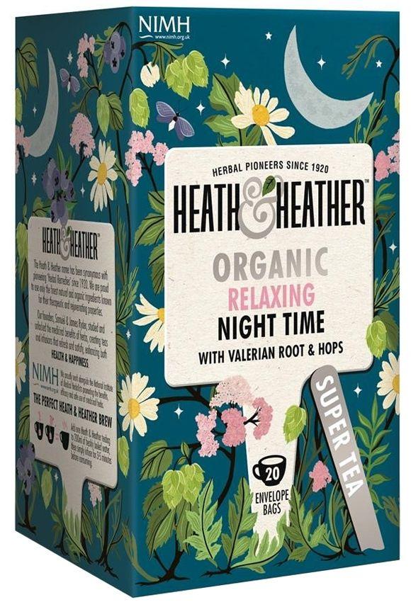 Heath And Heather Organic Relaxing Night Time Super Tea Tea Packaging Design Tea Design Tea Packaging