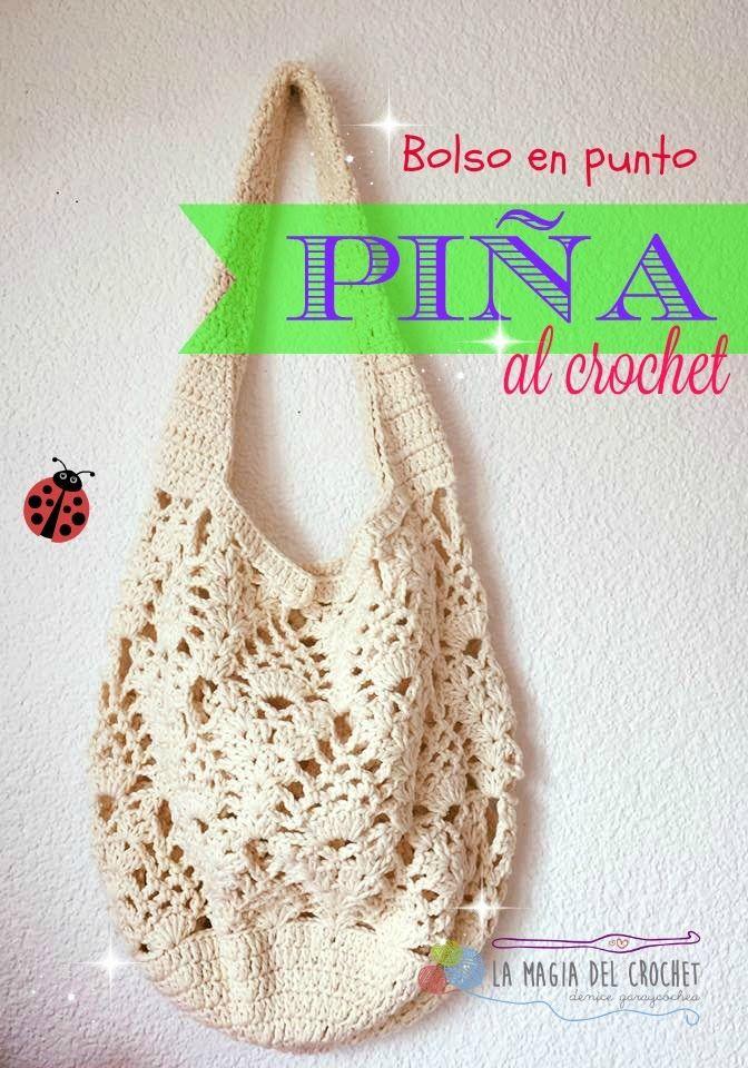 BOLSO CON PUNTO PIÑA AL CROCHET   tutoriales   Pinterest   Sac